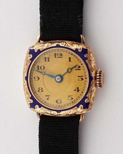 Ladies Misc. Swiss 14K Rose Gold Enamel C-1920's