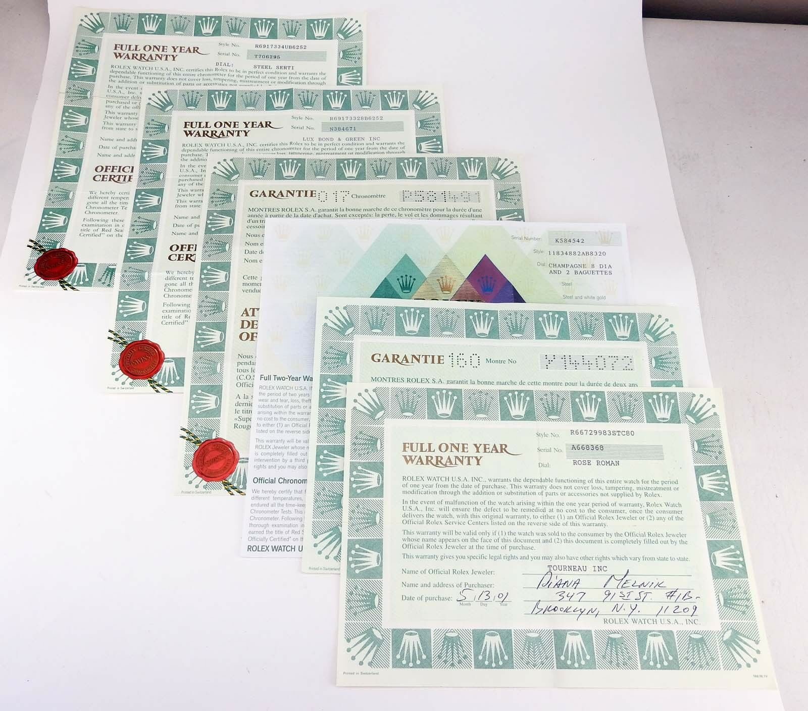 Genuine Rolex Vintage Collectible Chronometer Certificates